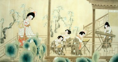 Beautiful lady, Playing music - Chinese Painting