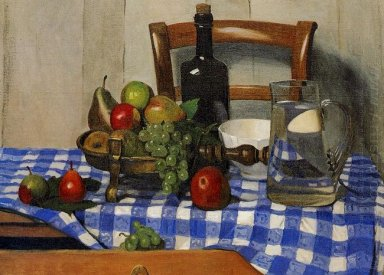 Still Life With Blue Checkered Tablecloth 1919