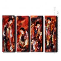 Hand Painted Oil Painting People - Set of 4