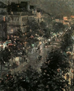 Paris At Night Boulevard Des Italiens 1908