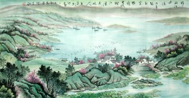 Boats on the lake - Chinese Painting