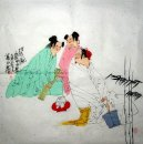 Poet talk with two woman-shiren - Chinese Painting