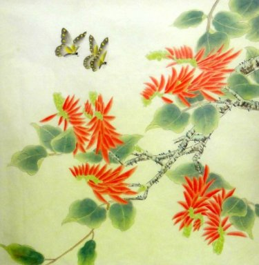 Butterfly-fleur - peinture chinoise