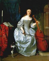 Woman Playing a Viola de Gamba