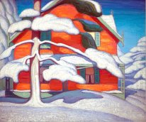Pine Tree and Red House, Winter City