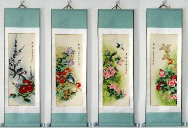 Flowers, birds, set of 4 - Mounted - Chinese Painting