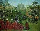 Tropical Forest With Apes And Snake 1910