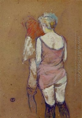 Two Half-Naked Women Seen from Behind