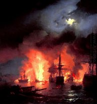 Battle Of Cesme At Night 1848