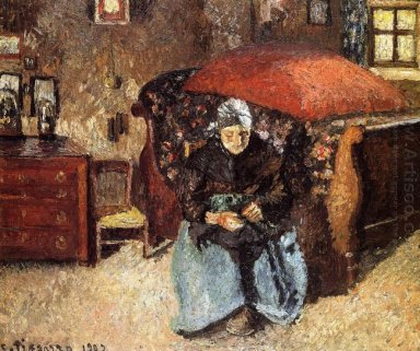 elderly woman mending old clothes moret 1902