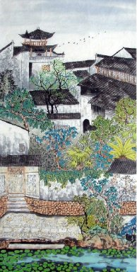 Chinese Town - Chinese Painting