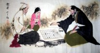 Two old people playing chess - Chinese Painting