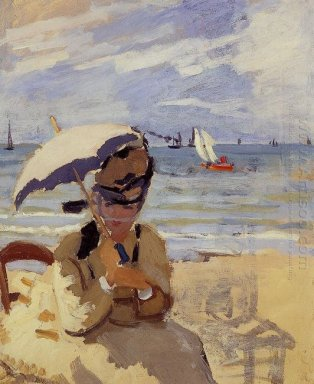 Camille Sitting On The Beach At Trouville 1871