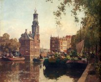 The Flowermarket On The Singel, Amsterdam, With The Munttoren Be
