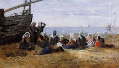 Berck Group Of Fishwomen Seated On The Beach