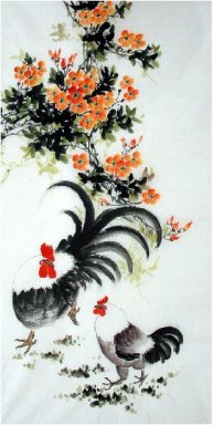 Flowers-Hen - Chinese Painting