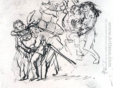 Three Sketches Of The Prodigal Son With A Whore (detail)