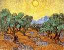 Olive Trees con cielo giallo e sole 1889