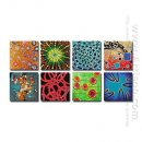 Hand-painted Abstract Oil Painting - Set of 8