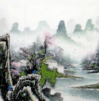 Lake, Mountains - Chinese Painting