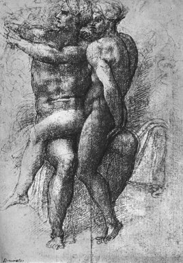 Nude Female Seated On The Knees Of A Seated Male Nude Adam And E