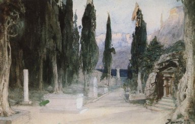 Cemetery Among The Cypress 1897