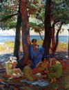 Bathers Under The Pines By The Sea 1926
