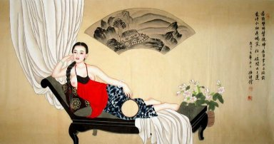 Girl, Lunch break - Chinese Painting