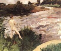 Gloomy Landscape with Bather