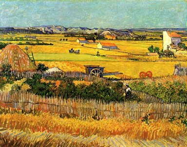 Harvest At La Crau With Montmajour In The Background 1888