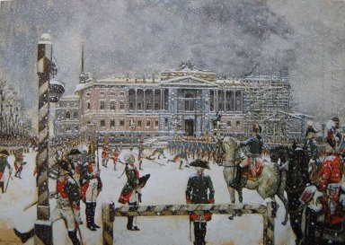 military parade of emperor paul in front of mikhailovsky castle