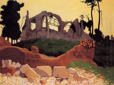 The Church Of Souain In Sihlouette 1917
