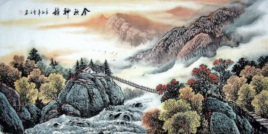 Lodge on the hill - Chinese Painting