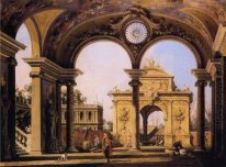 capriccio of a renaissance triumphal arch seen from the portico