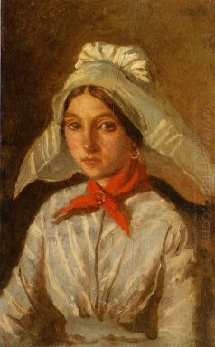 Young Girl With A Large Cap On Her Head