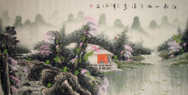 Mountain, plum flower - Chinese Painting