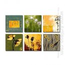 Hand-painted Floral Oil Painting - Set of 6