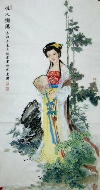 Beautiful lady, hold a fan-Chinese Painting