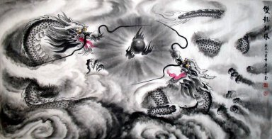 Dragon-Playing Pearl - Chinese Painting