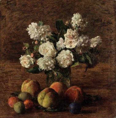 Still Life Roses And Fruit 1878
