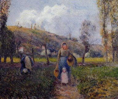 peasant woman and child harvesting the fields pontoise 1882