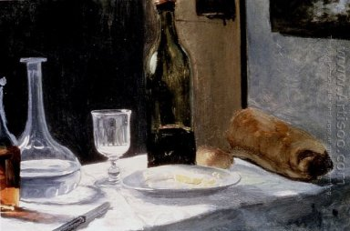 Still Life With Bottle Carafe Bread And Wine