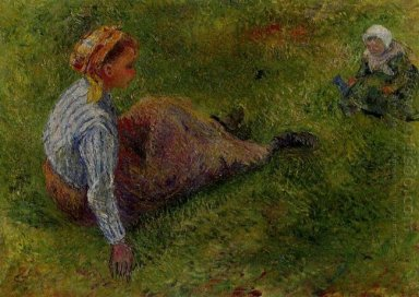 peasant sitting with infant 1881