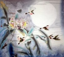 Birds & Flower & Moon - Pintura Chinesa