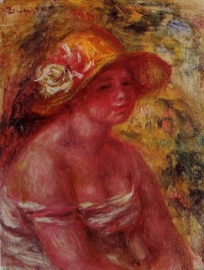 Bust Of A Young Girl Wearing A Straw Hat 1917