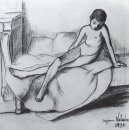 Utrillo Nude Sitting On A Couch 1895