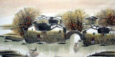 House, River - Chinese Painting