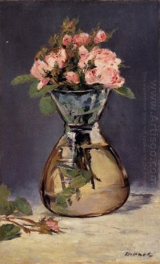 moss roses in a vase 1882