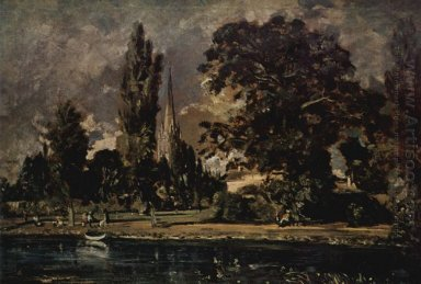the view of salisbury cathedral from the river with the house of