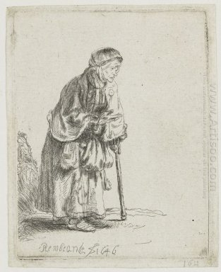 Beggar Woman Leaning On A Stick 1646